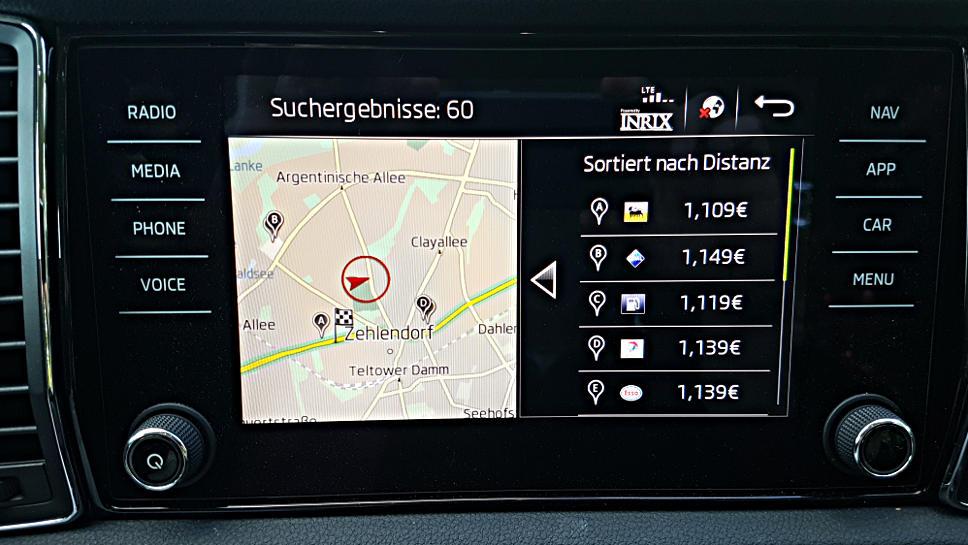 Finden einer Takstelle bei Skoda Connect. Foto: Mertens